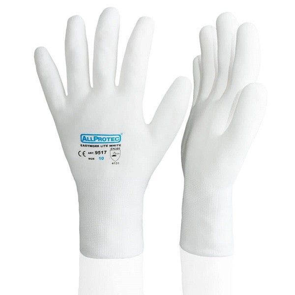 Allprotec Easywork Lite White Feinstrickhandschuh Nylon PU-teilbeschichtet Kat 2