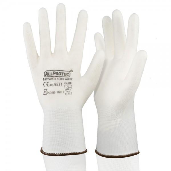 Allprotec® Easywork PU AERO White Feinstrickhandschuh Polyester PU-teilbeschichtet Kat 2